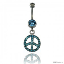 Surgical Steel Dangle Peace Sign Belly Button Ring w/ Blue Crystals, 1 1/2 in (38 mm) tall (Navel Piercing Body Jewelry)