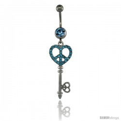 Surgical Steel Dangle KEY Peace Sign Belly Button Ring w/ Blue Crystals, 2 5/16 in (59 mm) tall (Navel Piercing Body Jewelry)