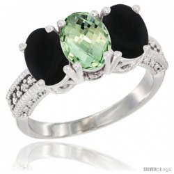 10K White Gold Natural Green Amethyst & Black Onyx Ring 3-Stone Oval 7x5 mm Diamond Accent