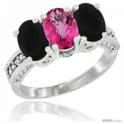 10K White Gold Natural Pink Topaz & Black Onyx Ring 3-Stone Oval 7x5 mm Diamond Accent