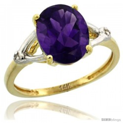 14k Yellow Gold Diamond Amethyst Ring 2.4 ct Oval Stone 10x8 mm, 3/8 in wide