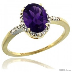 14k Yellow Gold Diamond Amethyst Ring 1.17 ct Oval Stone 8x6 mm, 3/8 in wide