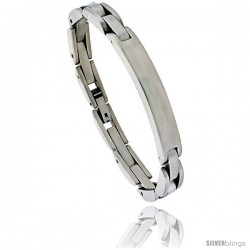 Stainless Steel Solid Link ID Bracelet 5/16 in wide, 8 in long