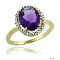 14k Yellow Gold Diamond Amethyst Ring 2.4 ct Oval Stone 10x8 mm, 1/2 in wide -Style Cy401114