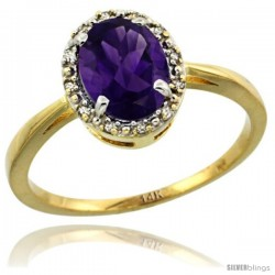 14k Yellow Gold Diamond Halo Amethyst Ring 1.2 ct Oval Stone 8x6 mm, 1/2 in wide