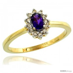 14k Yellow Gold Diamond Halo Amethyst Ring 0.25 ct Oval Stone 5x3 mm, 5/16 in wide
