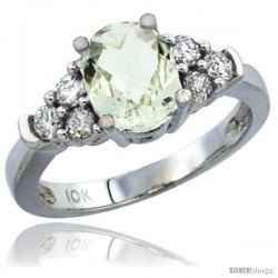 14k White Gold Ladies Natural Green Amethyst Ring oval 9x7 Stone Diamond Accent