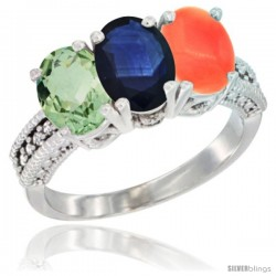 14K White Gold Natural Green Amethyst, Blue Sapphire & Coral Ring 3-Stone 7x5 mm Oval Diamond Accent