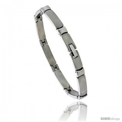 Stainless Steel Solid Link Bracelet 1/4 in wide, 8 in long