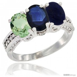 14K White Gold Natural Green Amethyst, Blue Sapphire & Lapis Ring 3-Stone 7x5 mm Oval Diamond Accent