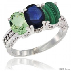14K White Gold Natural Green Amethyst, Blue Sapphire & Malachite Ring 3-Stone 7x5 mm Oval Diamond Accent