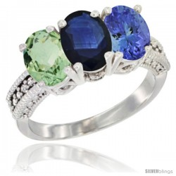 14K White Gold Natural Green Amethyst, Blue Sapphire & Tanzanite Ring 3-Stone 7x5 mm Oval Diamond Accent