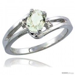 14k White Gold Ladies Natural Green Amethyst Ring oval 6x4 Stone Diamond Accent -Style Cw402165
