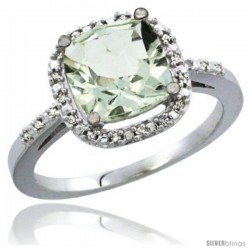 14k White Gold Ladies Natural Green Amethyst Ring Cushion-cut 3.8 ct. 8x8 Stone Diamond Accent