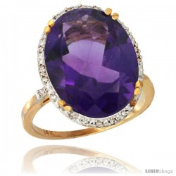 14k Yellow Gold Diamond Halo Large Amethyst Ring 10.3 ct Oval Stone 18x13 mm, 3/4 in wide