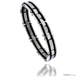 Stainless Steel Solid Link and Rubber Bracelet 1/2 in wide, 8 1/4 in long