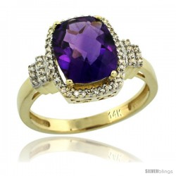 14k Yellow Gold Diamond Halo Amethyst Ring 2.4 ct Cushion Cut 9x7 mm, 1/2 in wide