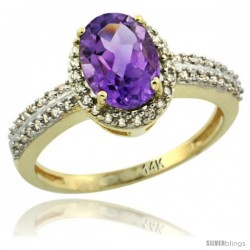 14k Yellow Gold Diamond Halo Amethyst Ring 1.2 ct Oval Stone 8x6 mm, 3/8 in wide