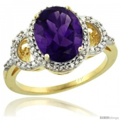 14k Yellow Gold Diamond Halo Amethyst Ring 2.4 ct Oval Stone 10x8 mm, 1/2 in wide