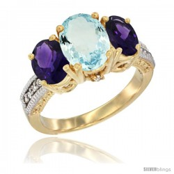 14K Yellow Gold Ladies 3-Stone Oval Natural Aquamarine Ring with Amethyst Sides Diamond Accent