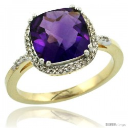 14k Yellow Gold Diamond Amethyst Ring 3 ct Cushion Cut 9x9 mm, 1/2 in wide