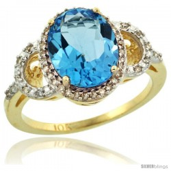 10k Yellow Gold Diamond Halo Swiss Blue Topaz Ring 2.4 ct Oval Stone 10x8 mm, 1/2 in wide