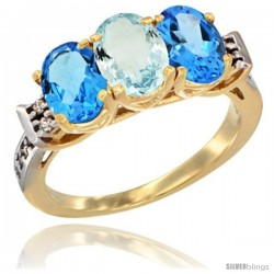 10K Yellow Gold Natural Aquamarine & Swiss Blue Topaz Sides Ring 3-Stone Oval 7x5 mm Diamond Accent