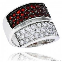 "Sterling Silver & Rhodium Plated Band, w/ 2mm High Quality CZ's (26 Ruby, 26 White), 3/4"" (19 mm) wide"