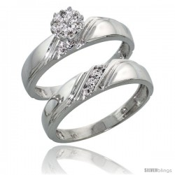 10k White Gold Diamond Engagement Rings Set 2-Piece 0.07 cttw Brilliant Cut, 3/16 in wide