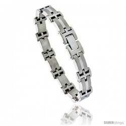 Stainless Steel Solid Link Bracelet 1/2 in wide, 8 in long