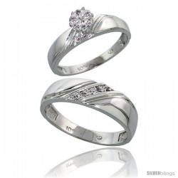 10k White Gold Diamond Engagement Rings 2-Piece Set for Men and Women 0.08 cttw Brilliant Cut, 4.5mm & 6mm wide