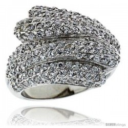 "Sterling Silver & Rhodium Plated Freeform Ring, w/ Tiny High Quality CZ's, 13/16"" (21 mm) wide"