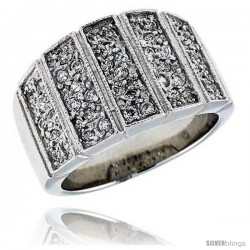 "Sterling Silver & Rhodium Plated Band, w/ Tiny High Quality CZ's, 9/16"" (14 mm) wide"