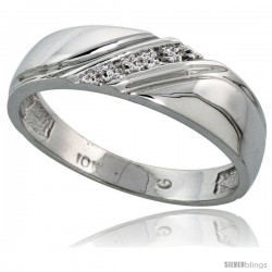 10k White Gold Mens Diamond Wedding Band Ring 0.03 cttw Brilliant Cut, 1/4 in wide -Style 10w010mb