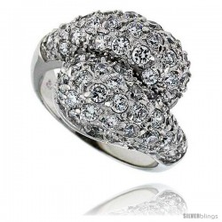 "Sterling Silver & Rhodium Plated Freeform Ring, w/ 2mm High Quality CZ's, 11/16"" (17 mm) wide"