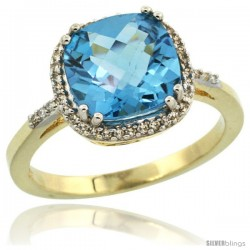 10k Yellow Gold Diamond Swiss Blue Topaz Ring 3.05 ct Cushion Cut 9x9 mm, 1/2 in wide