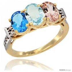 10K Yellow Gold Natural Swiss Blue Topaz, Aquamarine & Morganite Ring 3-Stone Oval 7x5 mm Diamond Accent