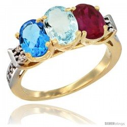 10K Yellow Gold Natural Swiss Blue Topaz, Aquamarine & Ruby Ring 3-Stone Oval 7x5 mm Diamond Accent