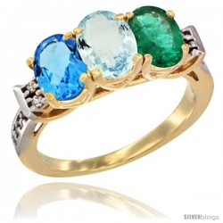 10K Yellow Gold Natural Swiss Blue Topaz, Aquamarine & Emerald Ring 3-Stone Oval 7x5 mm Diamond Accent