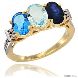 10K Yellow Gold Natural Swiss Blue Topaz, Aquamarine & Blue Sapphire Ring 3-Stone Oval 7x5 mm Diamond Accent
