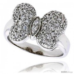 "Sterling Silver & Rhodium Plated Butterfly Ring, w/ Tiny High Quality CZ's, 9/16"" (14 mm) wide"