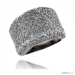"Sterling Silver & Rhodium Plated Dome Band, w/ Tiny High Quality CZ's, 11/16"" (17 mm) wide"