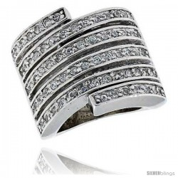 "Sterling Silver & Rhodium Plated Spiral Band, w/ 64 Tiny High Quality CZ's, 13/16"" (21 mm) wide"