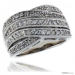 "Sterling Silver & Rhodium Plated Freeform Ring, w/ Tiny High Quality CZ's, 1/2"" (13 mm) wide"