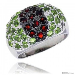 "Sterling Silver & Rhodium Plated Dome Ring, w/ 2mm High Quality CZ's (12 Ruby, 34 Peridot), 1/2"" (12 mm) wide"
