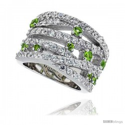 "Sterling Silver & Rhodium Plated Freeform Band, w/ 2mm High Quality White & Peridot CZ's, 5/8"" (15 mm) wide"