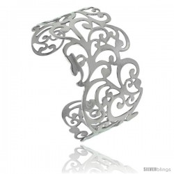 Stainless Steel Cuff Bangle Bracelet Floral Vine Cut-out pattern 1 1/2 in wide, size 7.5 in