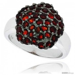 "Sterling Silver & Rhodium Plated Star Ring, w/ 2mm High Quality Ruby CZ's, 5/8"" (16 mm) wide"