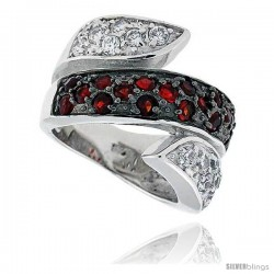 "Sterling Silver & Rhodium Plated Spiral Band, w/ 2mm High Quality CZ's (17 Ruby, 14 White), 11/16"" (17 mm) wide"