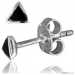 Tiny Sterling Silver Black Enamel Stud Earrings, 1/8 in(3 mm)